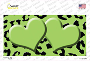 Lime Green Black Cheetah Lime Green Center Hearts Wholesale Novelty Sticker Decal
