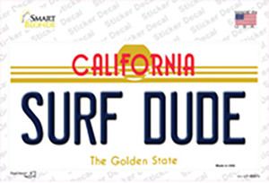 Surf Dude California Wholesale Novelty Sticker Decal