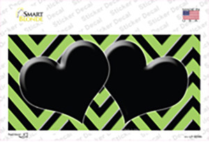 Lime Green Black Chevon Hearts Wholesale Novelty Sticker Decal