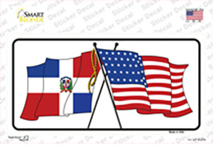 United States Dominican Republic Crossed Flags Wholesale Novelty Sticker Decal
