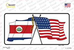 United States Costa Rica Crossed Flags Wholesale Novelty Sticker Decal