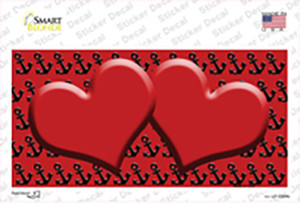 Red Black Anchor Red Heart Center Wholesale Novelty Sticker Decal
