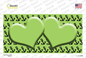 Lime Green Black Anchor Lime Green Heart Center Wholesale Novelty Sticker Decal