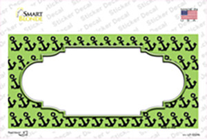 Lime Green Black Anchor Scallop Center Wholesale Novelty Sticker Decal