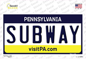 Subway Pennsylvania State Wholesale Novelty Sticker Decal