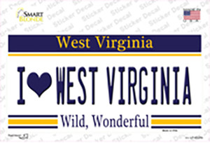 I Love West Virginia Wholesale Novelty Sticker Decal