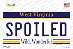 Spoiled West Virginia Wholesale Novelty Sticker Decal