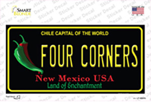 Four Corners Black New Mexico Wholesale Novelty Sticker Decal