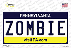 Zombie Pennsylvania State Wholesale Novelty Sticker Decal