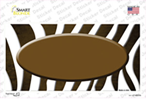 Brown White Zebra Oval Oil Rubbed Wholesale Novelty Sticker Decal