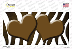Brown White Zebra Hearts Oil Rubbed Wholesale Novelty Sticker Decal