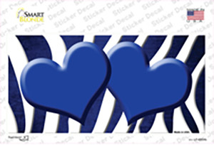 Blue White Zebra Hearts Oil Rubbed Wholesale Novelty Sticker Decal