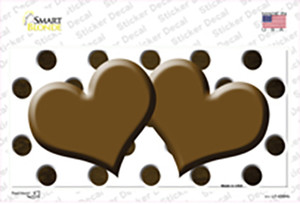 Brown White Dots Hearts Oil Rubbed Wholesale Novelty Sticker Decal