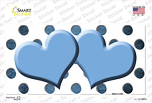 Light Blue White Dots Hearts Oil Rubbed Wholesale Novelty Sticker Decal