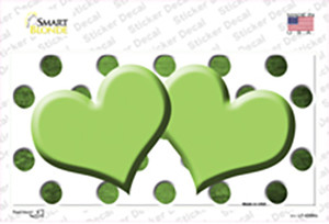 Lime Green White Dots Hearts Oil Rubbed Wholesale Novelty Sticker Decal