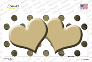 Gold White Dots Hearts Oil Rubbed Wholesale Novelty Sticker Decal