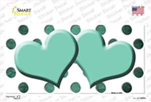 Mint White Dots Hearts Oil Rubbed Wholesale Novelty Sticker Decal