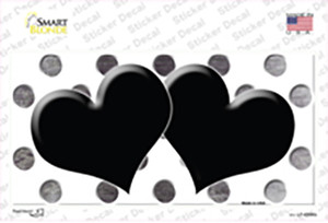Black White Dots Hearts Oil Rubbed Wholesale Novelty Sticker Decal