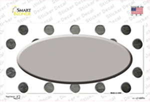 Gray White Dots Oval Oil Rubbed Wholesale Novelty Sticker Decal