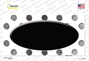 Black White Dots Oval Oil Rubbed Wholesale Novelty Sticker Decal