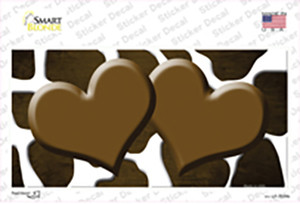 Brown White Hearts Giraffe Oil Rubbed Wholesale Novelty Sticker Decal