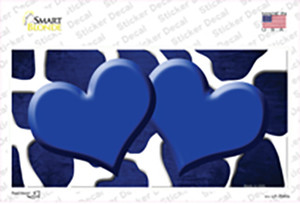 Blue White Hearts Giraffe Oil Rubbed Wholesale Novelty Sticker Decal