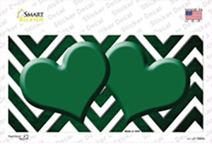 Green White Hearts Chevron Oil Rubbed Wholesale Novelty Sticker Decal