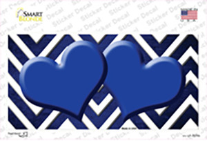 Blue White Hearts Chevron Oil Rubbed Wholesale Novelty Sticker Decal