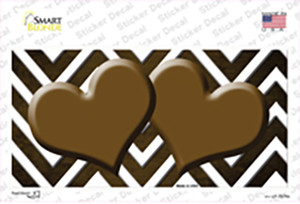 Brown White Hearts Chevron Oil Rubbed Wholesale Novelty Sticker Decal
