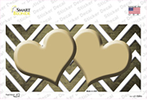 Gold White Hearts Chevron Oil Rubbed Wholesale Novelty Sticker Decal