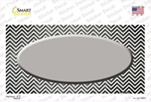 Gray White Small Chevron Oval Oil Rubbed Wholesale Novelty Sticker Decal