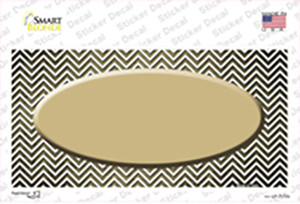 Gold White Small Chevron Oval Oil Rubbed Wholesale Novelty Sticker Decal