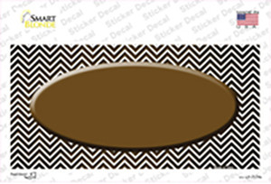 Brown White Small Chevron Oval Oil Rubbed Wholesale Novelty Sticker Decal