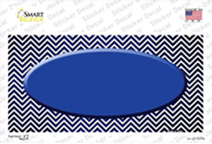 Blue White Small Chevron Oval Oil Rubbed Wholesale Novelty Sticker Decal
