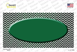 Green White Small Chevron Oval Oil Rubbed Wholesale Novelty Sticker Decal