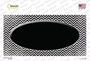 Black White Small Chevron Oval Oil Rubbed Wholesale Novelty Sticker Decal