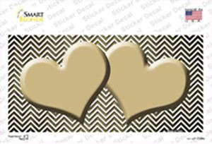 Gold White Small Chevron Hearts Oil Rubbed Wholesale Novelty Sticker Decal