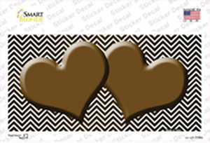 Brown White Small Chevron Hearts Oil Rubbed Wholesale Novelty Sticker Decal