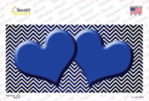 Blue White Small Chevron Hearts Oil Rubbed Wholesale Novelty Sticker Decal