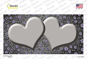 Gray Purple Flowers Hearts Oil Rubbed Wholesale Novelty Sticker Decal