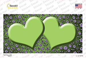 Lime Green Purple Flowers Hearts Oil Rubbed Wholesale Novelty Sticker Decal