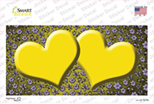 Yellow Purple Flowers Hearts Oil Rubbed Wholesale Novelty Sticker Decal