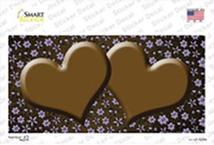 Brown Purple Flowers Hearts Oil Rubbed Wholesale Novelty Sticker Decal