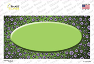 Lime Green Purple Flowers Oval Oil Rubbed Wholesale Novelty Sticker Decal