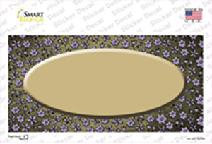 Gold Purple Flowers Oval Oil Rubbed Wholesale Novelty Sticker Decal