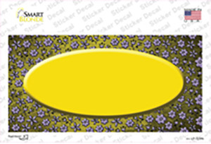 Yellow Purple Flowers Oval Oil Rubbed Wholesale Novelty Sticker Decal