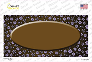 Brown Purple Flowers Oval Oil Rubbed Wholesale Novelty Sticker Decal