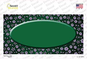 Green Purple Flowers Oval Oil Rubbed Wholesale Novelty Sticker Decal