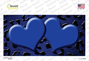 Blue Black Cheetah Hearts Oil Rubbed Wholesale Novelty Sticker Decal