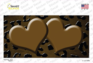 Brown Black Cheetah Hearts Oil Rubbed Wholesale Novelty Sticker Decal